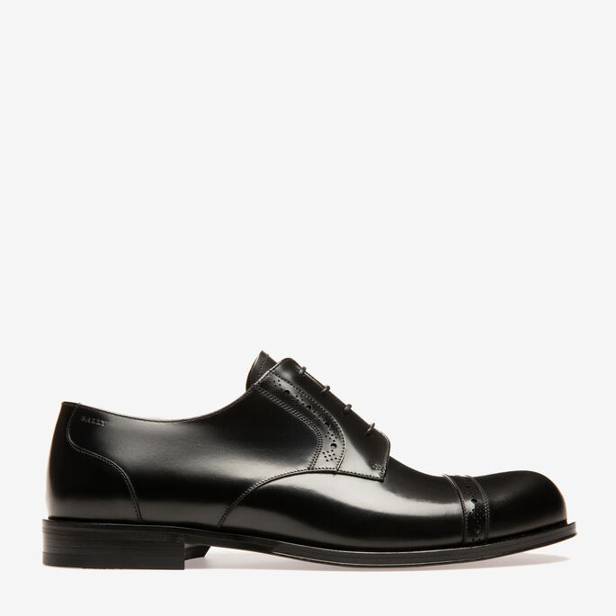 Bally FREDRIC MENS PLAIN CALF LEATHER DERBY lace ups IN BLACK