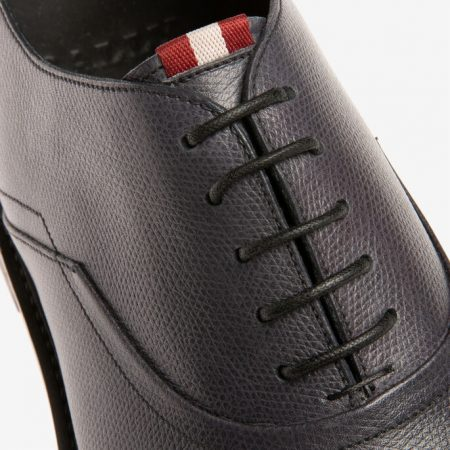 Bally NICK MENS GRAINED CALF LEATHER OXFORD Lace ups IN SMOKE GREY