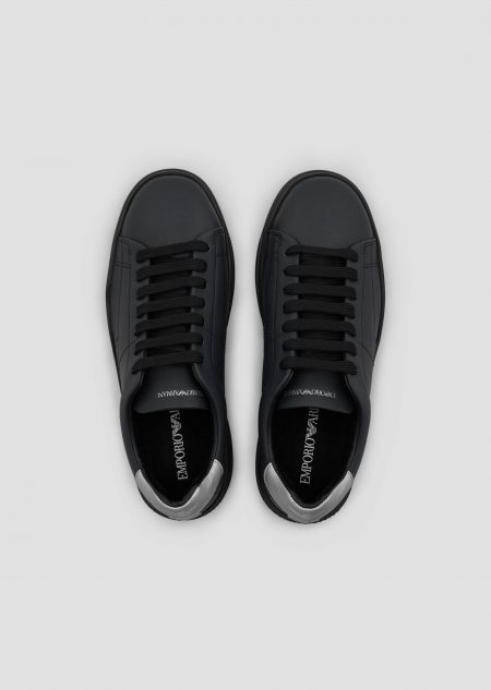 EMPORIO ARMANI Sneakers with metallic back and logo on the sole