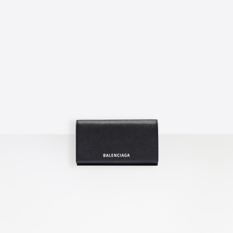 Ville Phone Wallet On Chain in Black Small Grain Leather