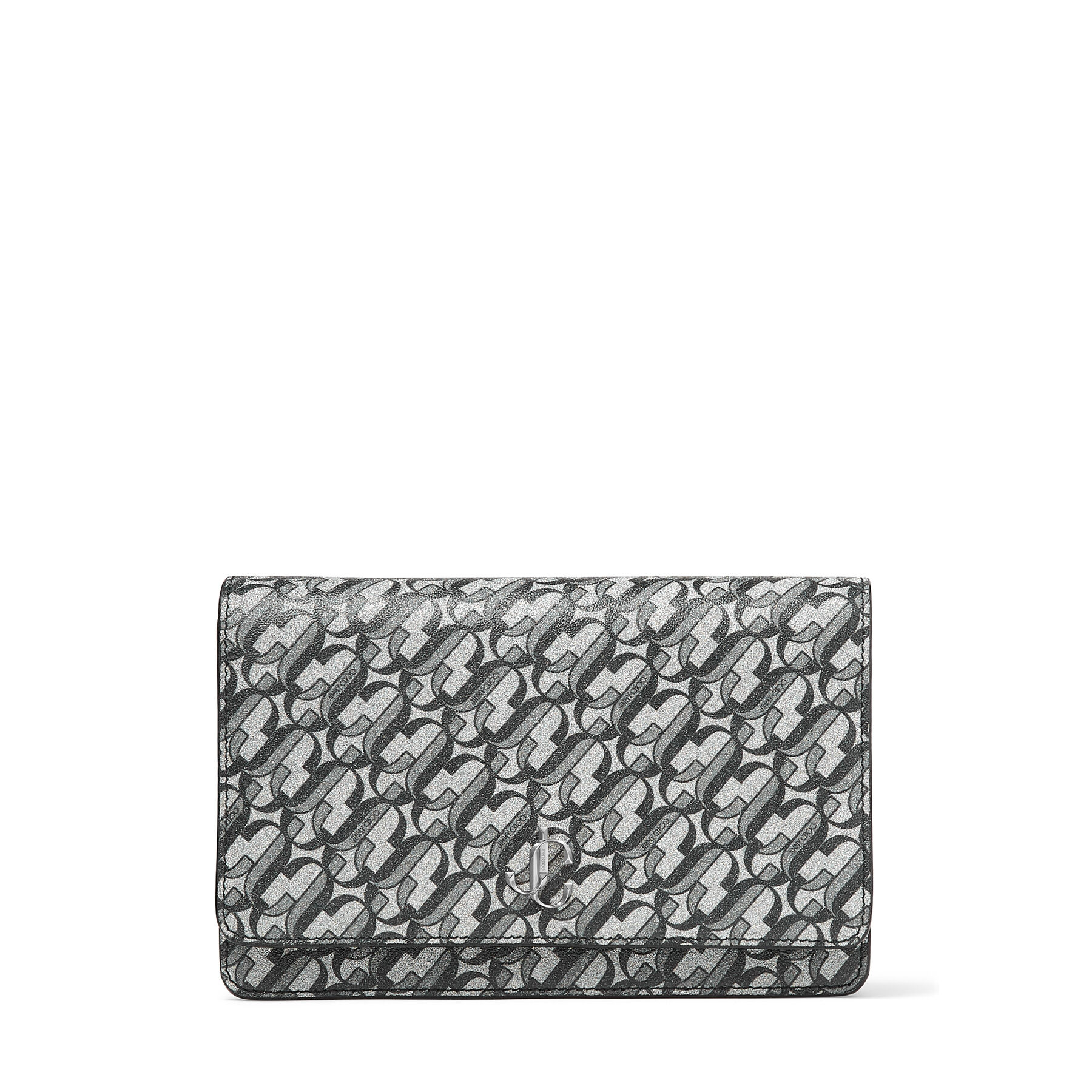 Jimmy ChooPALACE Silver and Black Galactic Glitter Fabric Chain Wallet